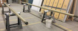 22' long carbon fiber whisker poles for classic wooden yacht